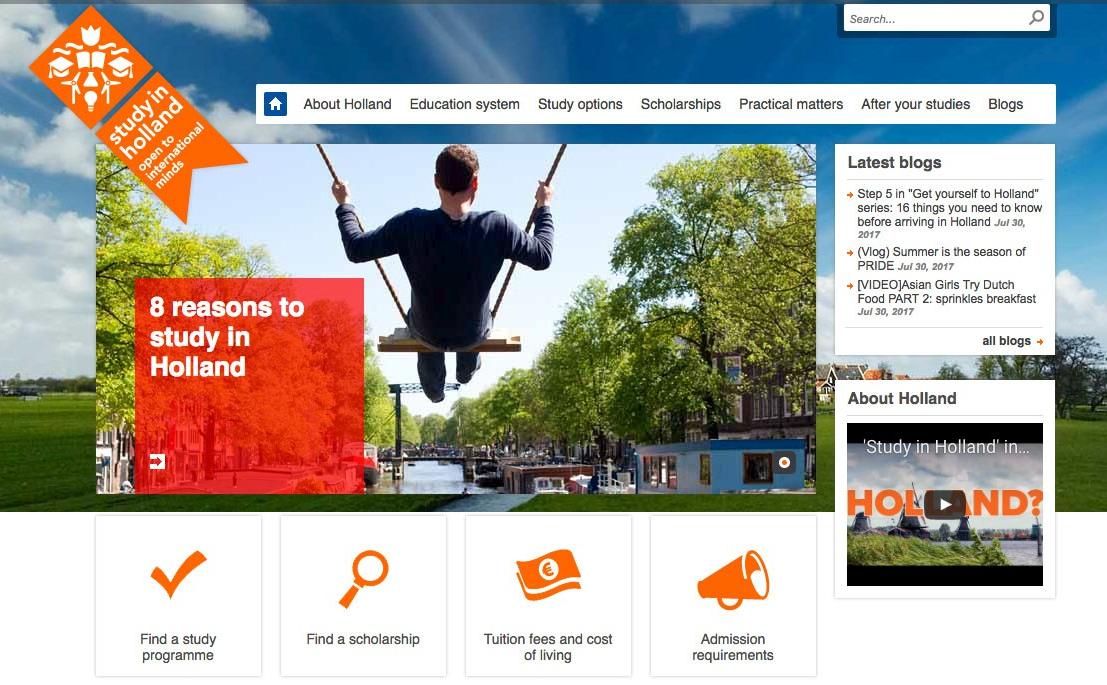 네덜란드 유학, 학교 선정을 위한 웹사이트 추천