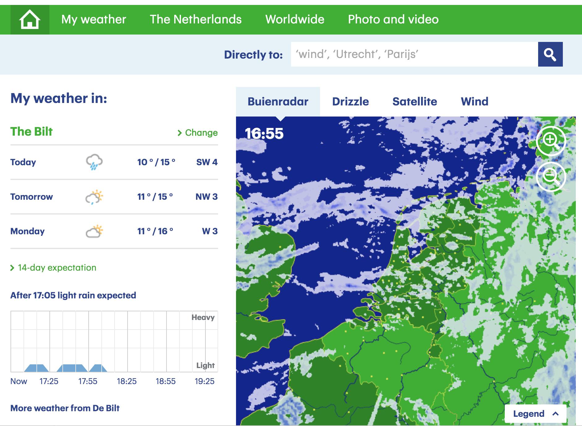 변덕스러운 네덜란드 날씨 예측앱, Buienradar