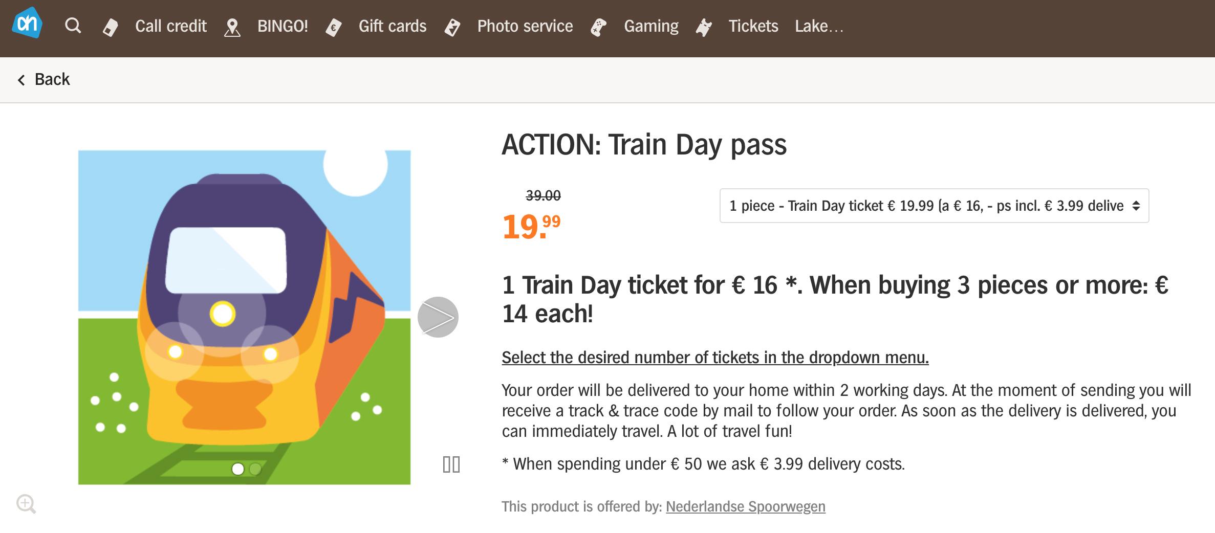 알버트하인에서 10월 14일까지 기차 일일무한 여행티켓이 16유로!