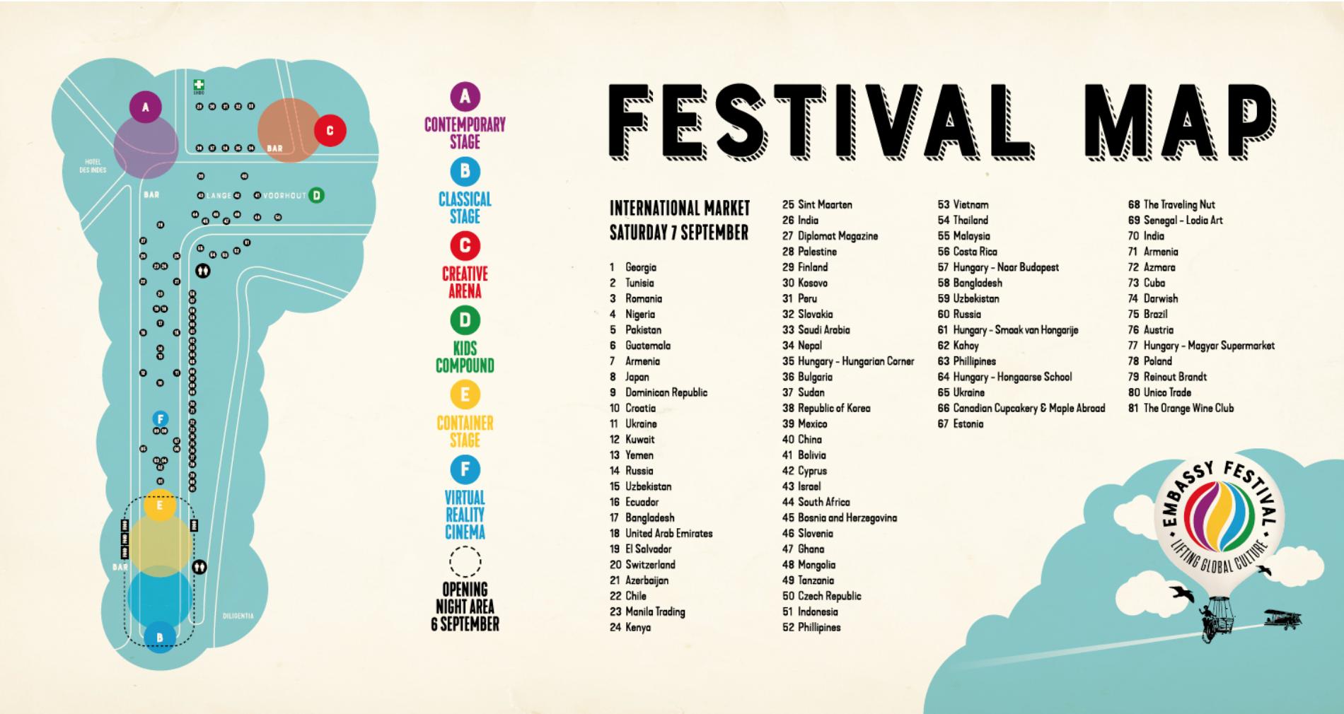 다양한 국적의 문화를 한번에 즐길 수 있는 헤이그 무료 페스티벌, Embassy Festival (2019년 9월 6-7일)