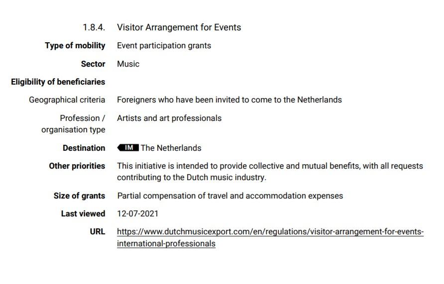 Dutch musician support scheme